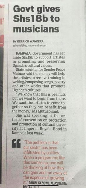 State House Allocates UGx.18Billion To Ugandan Artists As Support. 1