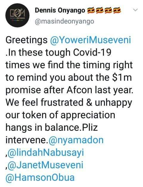 """""""President Museveni Please Give Us The M You Promised Us, We Are Tired Of Waiting."""" Uganda Cranes Players Cry Out."""