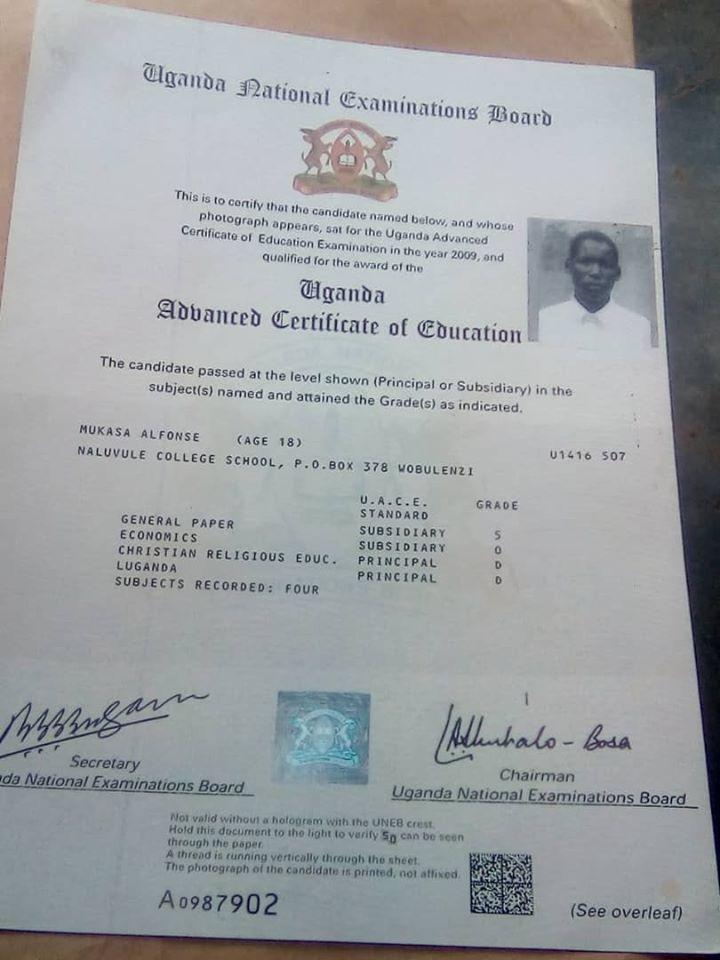 His S6 certificate